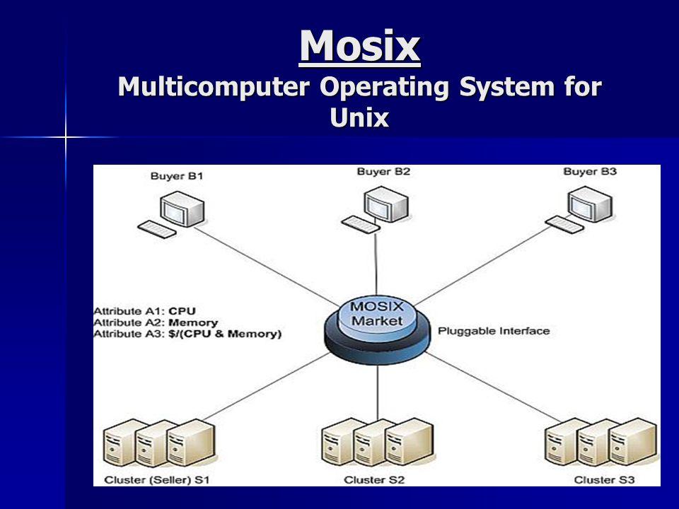 Aplicações que se beneficiam do Mosix Para processos que misturam longos e rápidos tempos de execução ou com moderadas quantias de comunicação interprocessos, somado ao uso das bibliotecas MPI/PVM; Para processos que misturam longos e rápidos tempos de execução ou com moderadas quantias de comunicação interprocessos, somado ao uso das bibliotecas MPI/PVM; Processos I/O bound misturados com processos da CPU quando executados através do servidor de arquivos, usando o sistema de arquivos distribuídos; Processos I/O bound misturados com processos da CPU quando executados através do servidor de arquivos, usando o sistema de arquivos distribuídos;