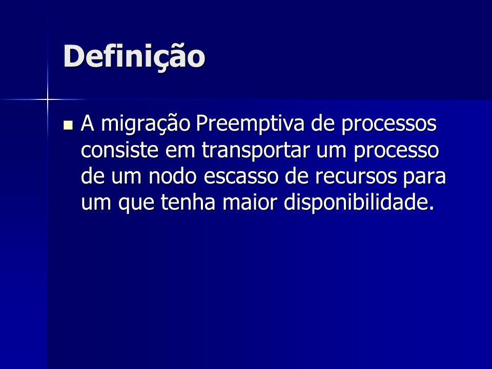 Definição A migração Preemptiva de processos consiste em transportar um processo de um nodo escasso de recursos para um que tenha maior disponibilidad