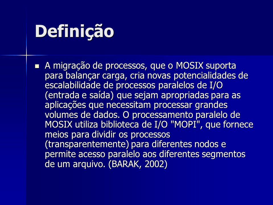 Definição Quando um processo é iniciado, o Mosix escolhe qual o melhor nó que poderá executá-lo, o envia para tal e monitora sua execução.