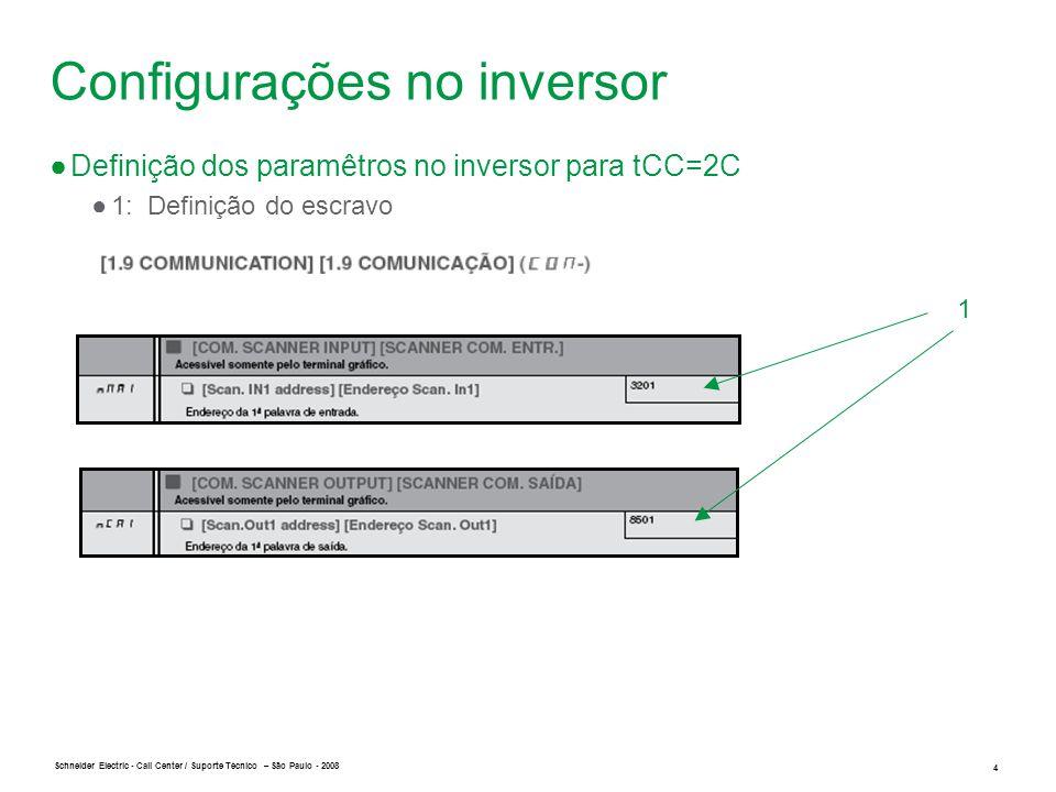 Schneider Electric 5 - Call Center / Suporte Técnico – São Paulo - 2008 Configurações no inversor ●Definição dos paramêtros no inversor para tCC=2C ●2 : Definição do Comando: bit 0 com valor 1 2