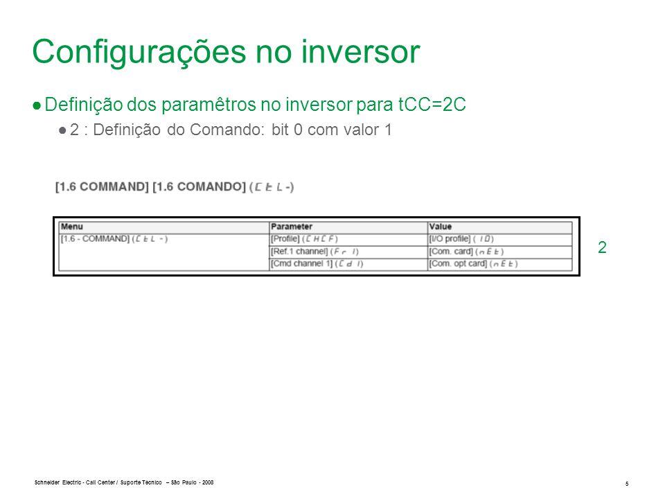 Schneider Electric 6 - Call Center / Suporte Técnico – São Paulo - 2008 3 Configurações no inversor ●Definição dos paramêtros no inversor para tCC=2C ●3: Definição do Sentido Reverso (Atribuir a rrS o valor C301): bit 1 com valor 1
