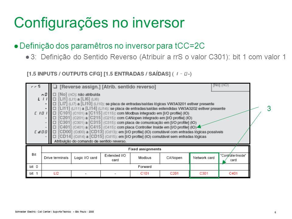 Schneider Electric 6 - Call Center / Suporte Técnico – São Paulo - 2008 3 Configurações no inversor ●Definição dos paramêtros no inversor para tCC=2C