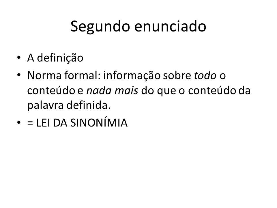Segundo enunciado A definição Norma formal: informação sobre todo o conteúdo e nada mais do que o conteúdo da palavra definida. = LEI DA SINONÍMIA