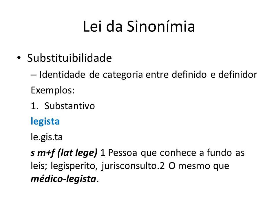 Lei da Sinonímia Substituibilidade – Identidade de categoria entre definido e definidor Exemplos: 1.Substantivo legista le.gis.ta s m+f (lat lege) 1 Pessoa que conhece a fundo as leis; legisperito, jurisconsulto.2 O mesmo que médico-legista.