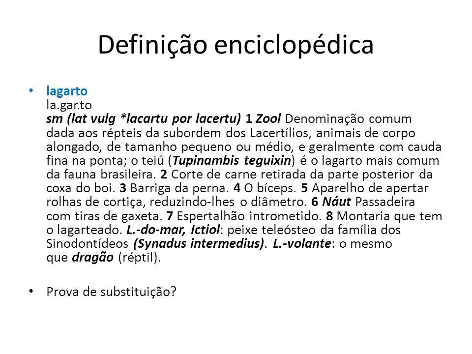 Definição enciclopédica lagarto la.gar.to sm (lat vulg *lacartu por lacertu) 1 Zool Denominação comum dada aos répteis da subordem dos Lacertílios, animais de corpo alongado, de tamanho pequeno ou médio, e geralmente com cauda fina na ponta; o teiú (Tupinambis teguixin) é o lagarto mais comum da fauna brasileira.