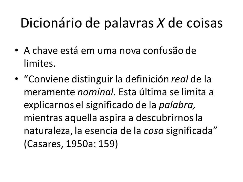"Dicionário de palavras X de coisas A chave está em uma nova confusão de limites. ""Conviene distinguir la definición real de la meramente nominal. Esta"