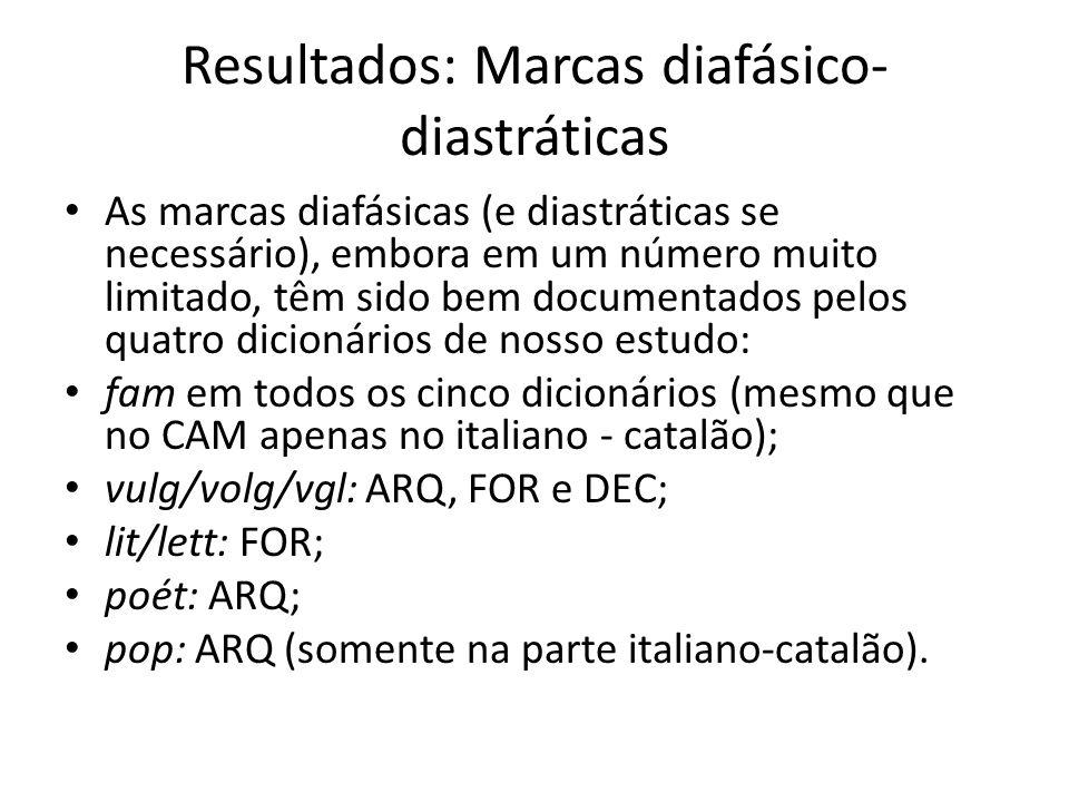 Resultados: Marcas diafásico- diastráticas As marcas diafásicas (e diastráticas se necessário), embora em um número muito limitado, têm sido bem documentados pelos quatro dicionários de nosso estudo: fam em todos os cinco dicionários (mesmo que no CAM apenas no italiano - catalão); vulg/volg/vgl: ARQ, FOR e DEC; lit/lett: FOR; poét: ARQ; pop: ARQ (somente na parte italiano-catalão).