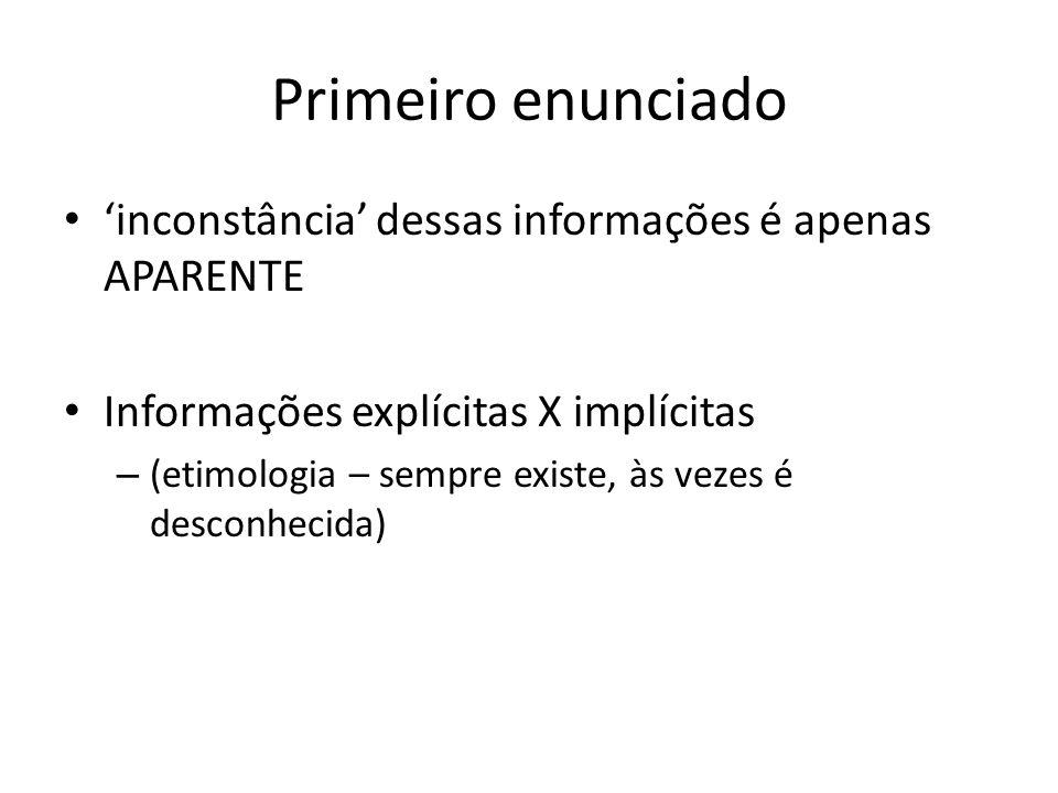 Primeiro enunciado 'inconstância' dessas informações é apenas APARENTE Informações explícitas X implícitas – (etimologia – sempre existe, às vezes é d