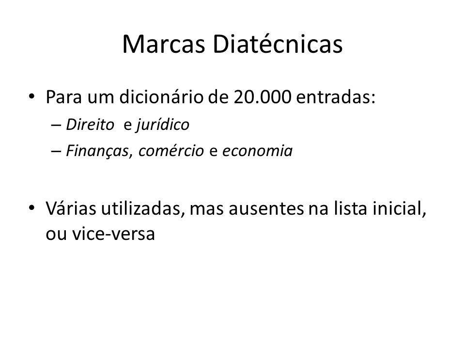 Marcas Diatécnicas Para um dicionário de 20.000 entradas: – Direito e jurídico – Finanças, comércio e economia Várias utilizadas, mas ausentes na lista inicial, ou vice-versa