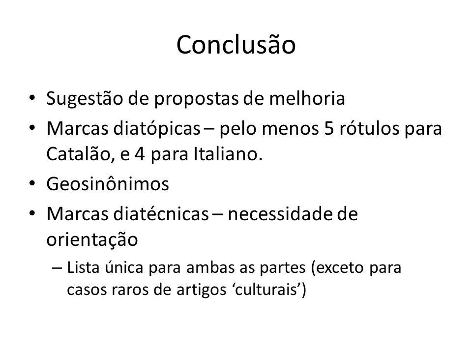 Conclusão Sugestão de propostas de melhoria Marcas diatópicas – pelo menos 5 rótulos para Catalão, e 4 para Italiano. Geosinônimos Marcas diatécnicas