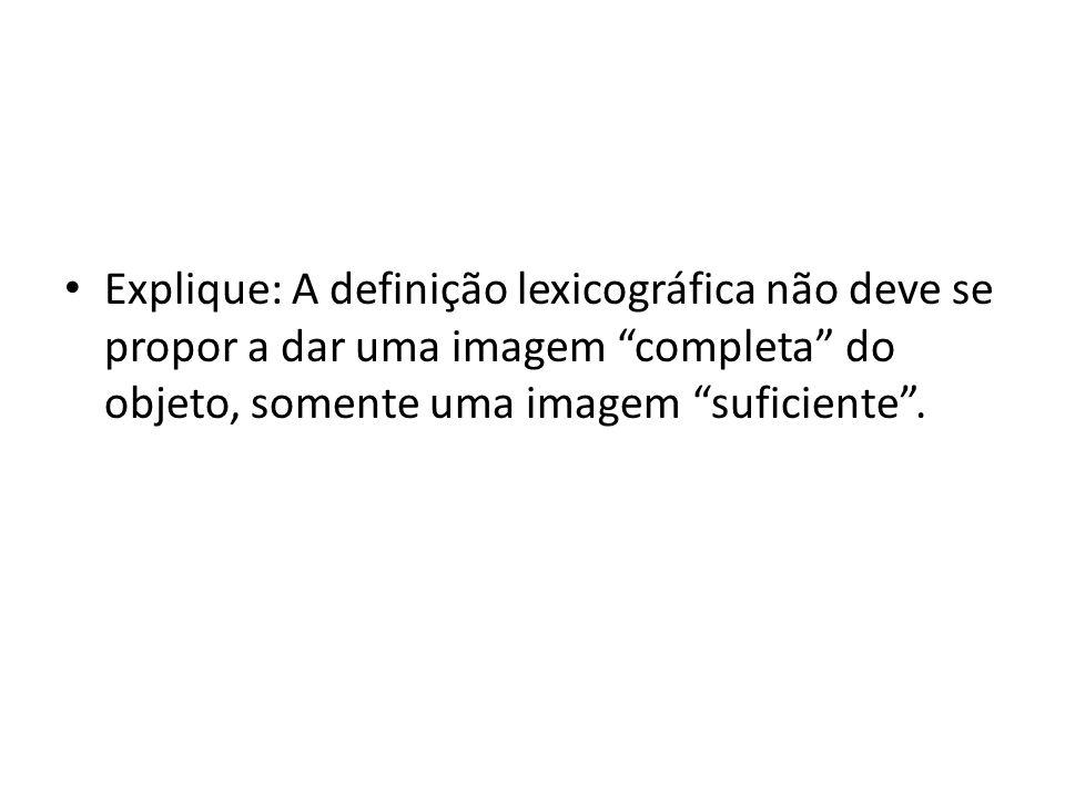 """Explique: A definição lexicográfica não deve se propor a dar uma imagem """"completa"""" do objeto, somente uma imagem """"suficiente""""."""