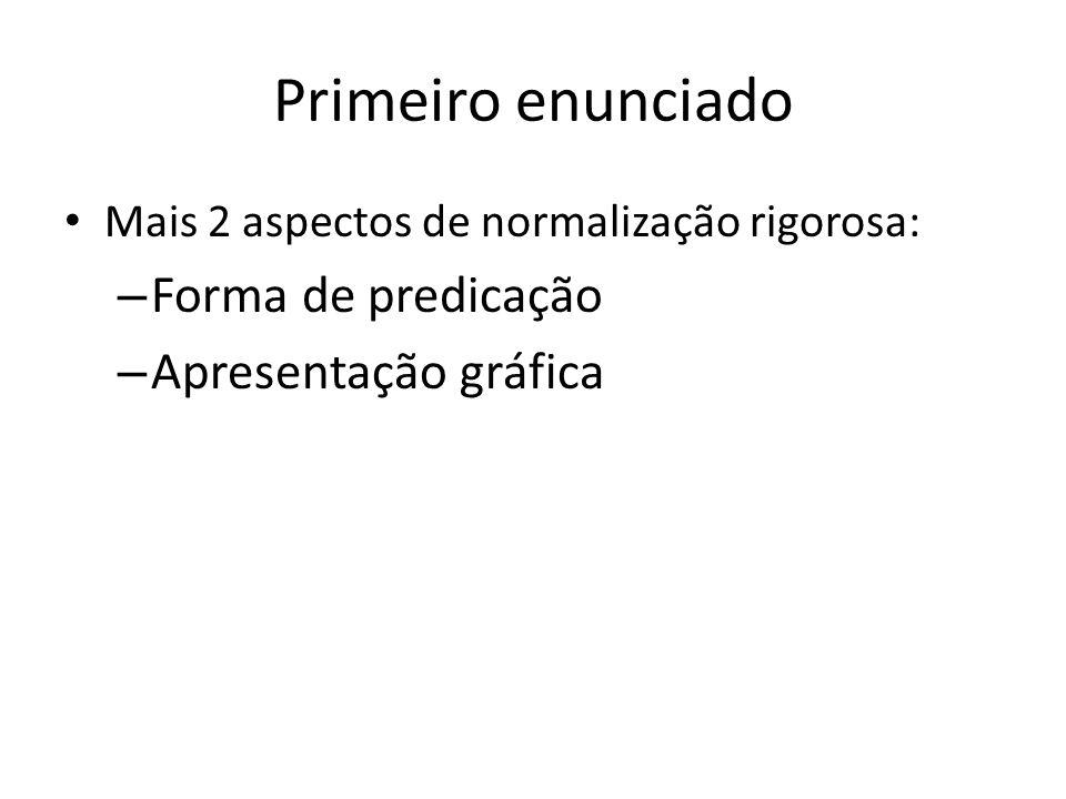 Primeiro enunciado Mais 2 aspectos de normalização rigorosa: – Forma de predicação – Apresentação gráfica