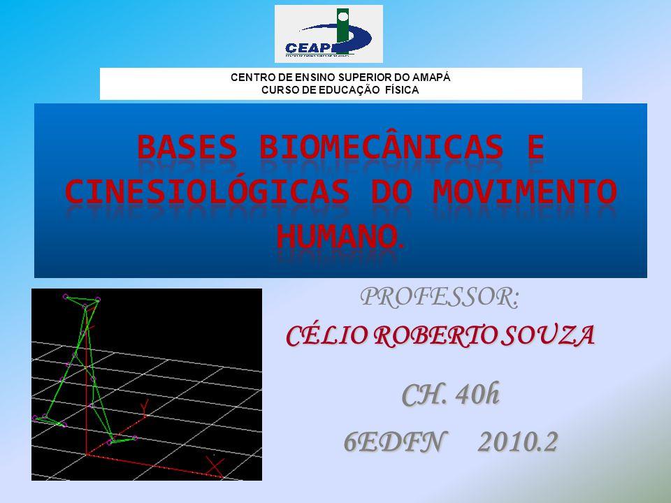 PROFESSOR: CÉLIO ROBERTO SOUZA CENTRO DE ENSINO SUPERIOR DO AMAPÁ CURSO DE EDUCAÇÃO FÍSICA CH. 40h 6EDFN 2010.2