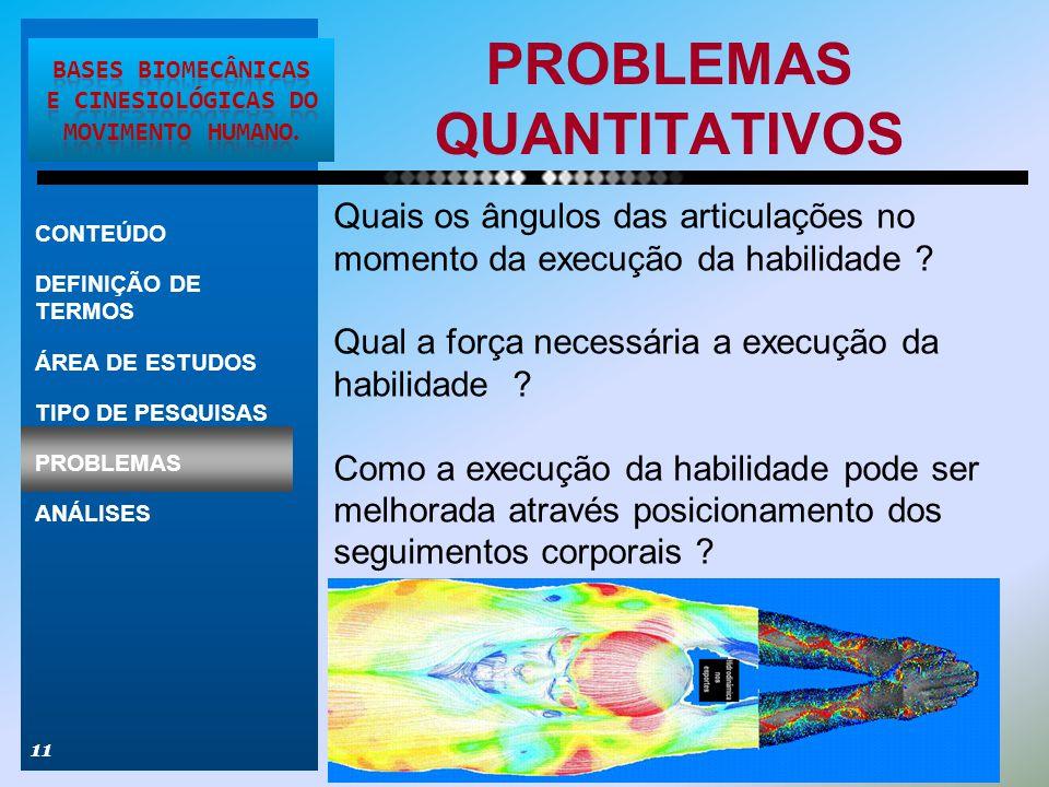 PROBLEMAS QUANTITATIVOS 11 CONTEÚDO DEFINIÇÃO DE TERMOS ÁREA DE ESTUDOS TIPO DE PESQUISAS PROBLEMAS ANÁLISES Quais os ângulos das articulações no mome