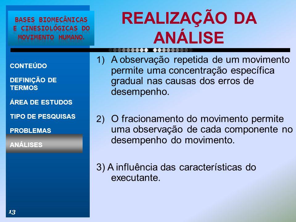 REALIZAÇÃO DA ANÁLISE 13 CONTEÚDO DEFINIÇÃO DE TERMOS ÁREA DE ESTUDOS TIPO DE PESQUISAS PROBLEMAS ANÁLISES 1) A observação repetida de um movimento pe