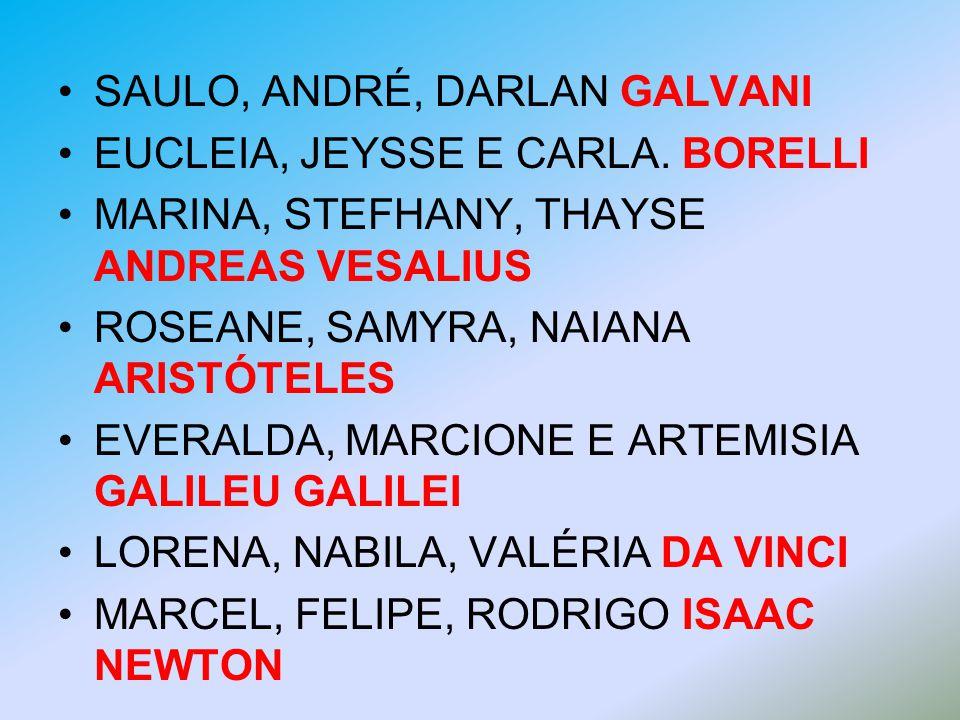 SAULO, ANDRÉ, DARLAN GALVANI EUCLEIA, JEYSSE E CARLA. BORELLI MARINA, STEFHANY, THAYSE ANDREAS VESALIUS ROSEANE, SAMYRA, NAIANA ARISTÓTELES EVERALDA,