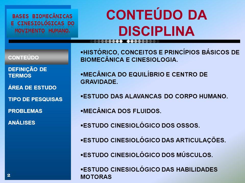 CONTEÚDO DA DISCIPLINA 2  HISTÓRICO, CONCEITOS E PRINCÍPIOS BÁSICOS DE BIOMECÂNICA E CINESIOLOGIA.  MECÂNICA DO EQUILÍBRIO E CENTRO DE GRAVIDADE. 