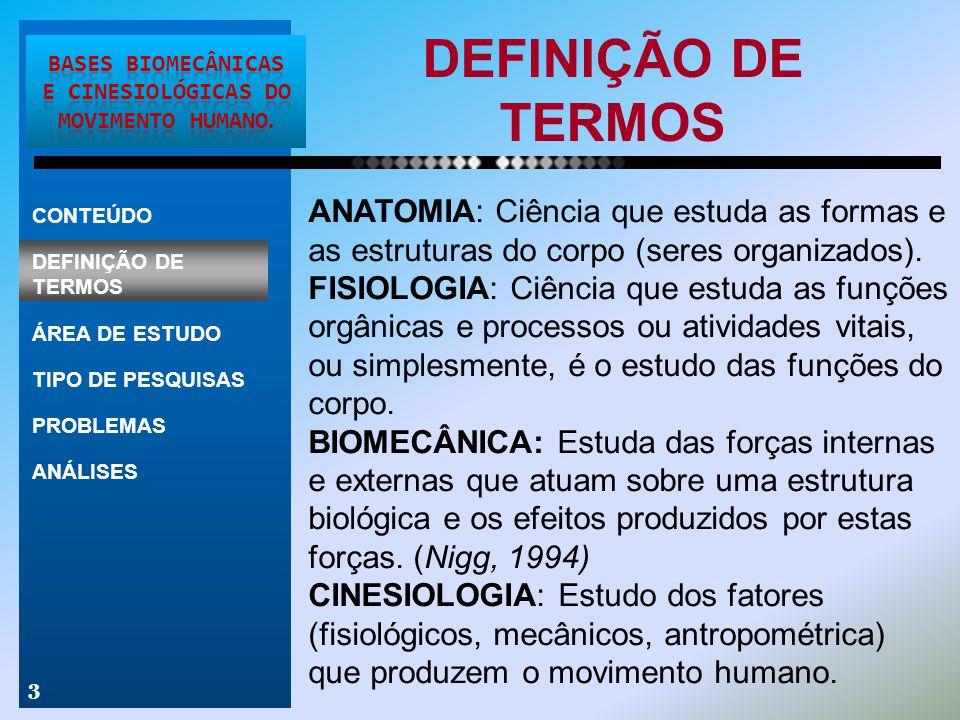 DEFINIÇÃO DE TERMOS 3 ANATOMIA: Ciência que estuda as formas e as estruturas do corpo (seres organizados). FISIOLOGIA: Ciência que estuda as funções o