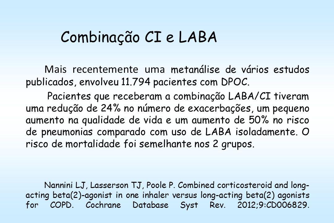 Combinação CI e LABA Mais recentemente uma metanálise de vários estudos publicados, envolveu 11.794 pacientes com DPOC.