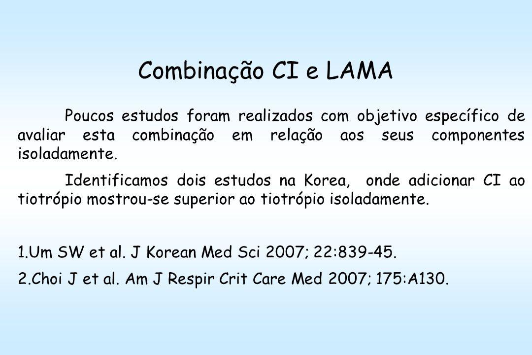 Combinação CI e LAMA Poucos estudos foram realizados com objetivo específico de avaliar esta combinação em relação aos seus componentes isoladamente.