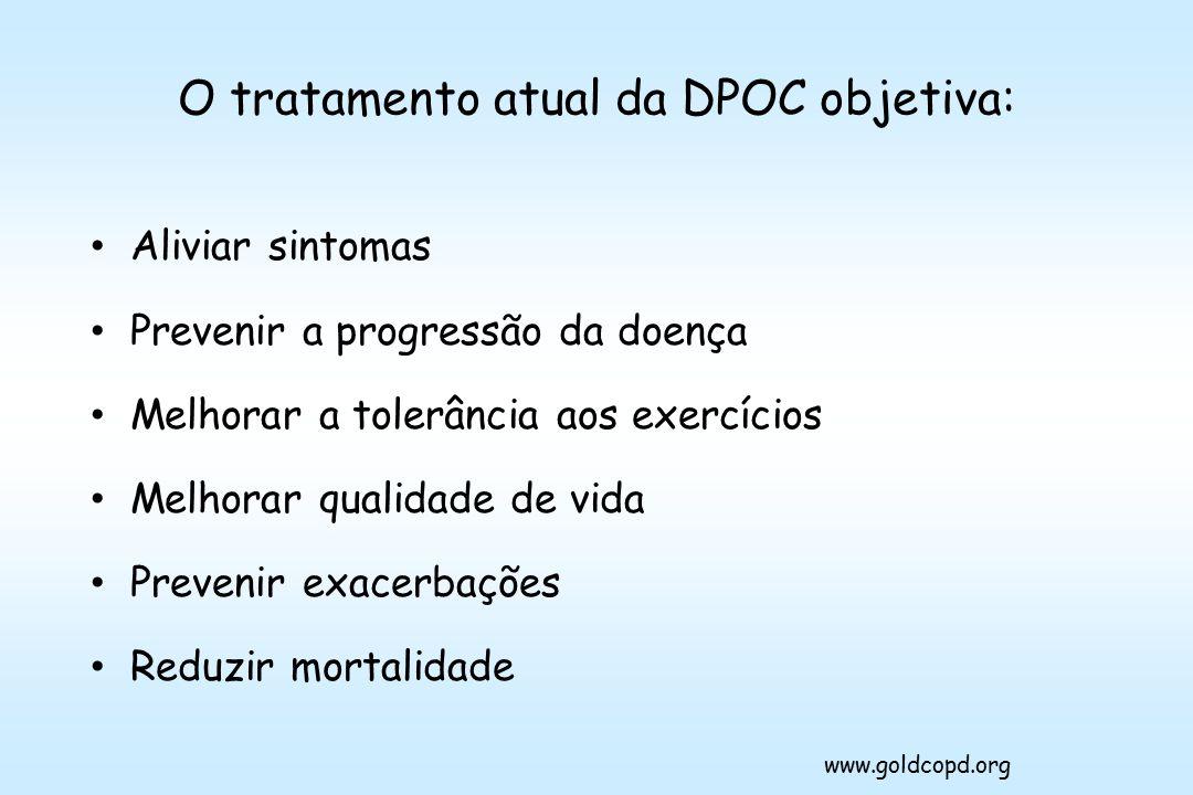 O tratamento atual da DPOC objetiva: Aliviar sintomas Prevenir a progressão da doença Melhorar a tolerância aos exercícios Melhorar qualidade de vida Prevenir exacerbações Reduzir mortalidade www.goldcopd.org