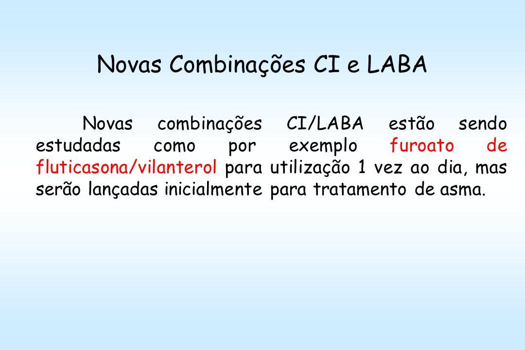Novas Combinações CI e LABA Novas combinações CI/LABA estão sendo estudadas como por exemplo furoato de fluticasona/vilanterol para utilização 1 vez ao dia, mas serão lançadas inicialmente para tratamento de asma.