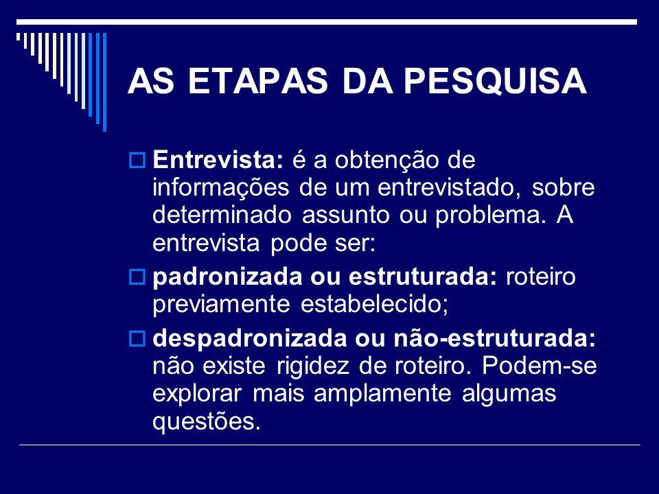 AS ETAPAS DA PESQUISA  Entrevista: é a obtenção de informações de um entrevistado, sobre determinado assunto ou problema.