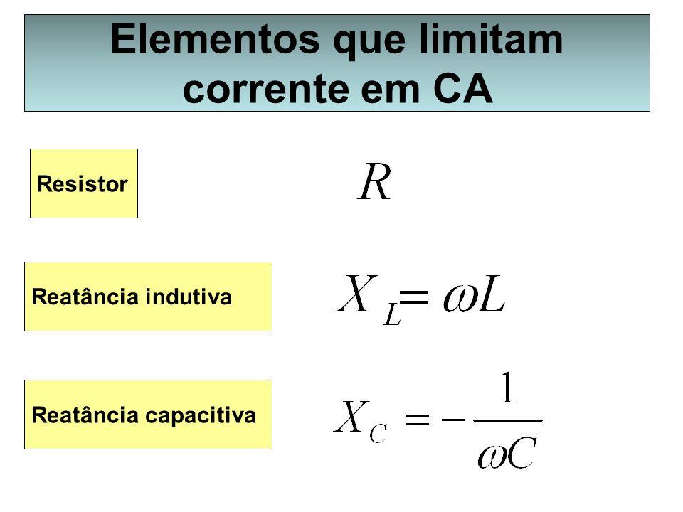 Elementos que limitam corrente em CA Resistor Reatância indutiva Reatância capacitiva