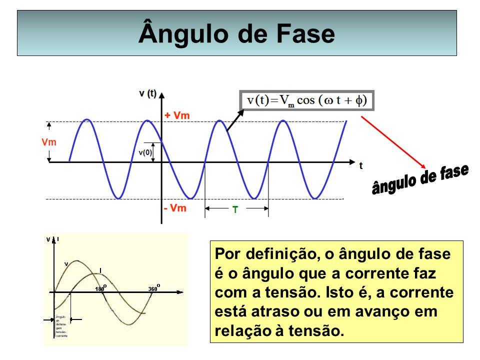 Ângulo de Fase Por definição, o ângulo de fase é o ângulo que a corrente faz com a tensão. Isto é, a corrente está atraso ou em avanço em relação à te