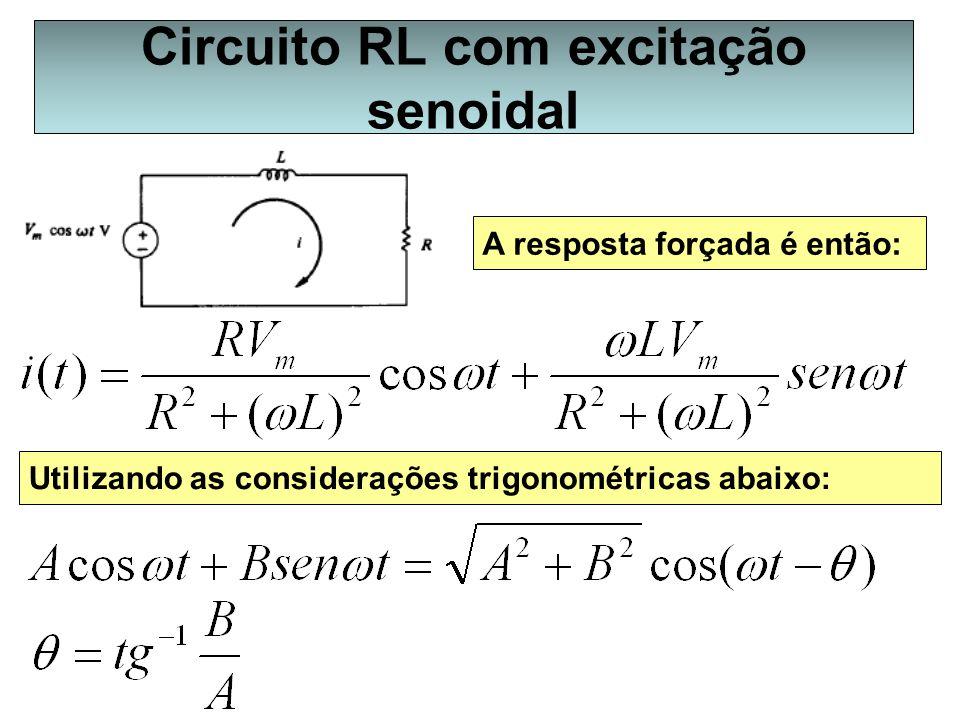 Circuito RL com excitação senoidal A resposta forçada é então: Utilizando as considerações trigonométricas abaixo: