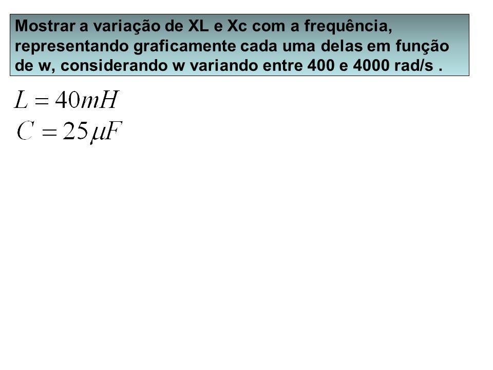 Mostrar a variação de XL e Xc com a frequência, representando graficamente cada uma delas em função de w, considerando w variando entre 400 e 4000 rad
