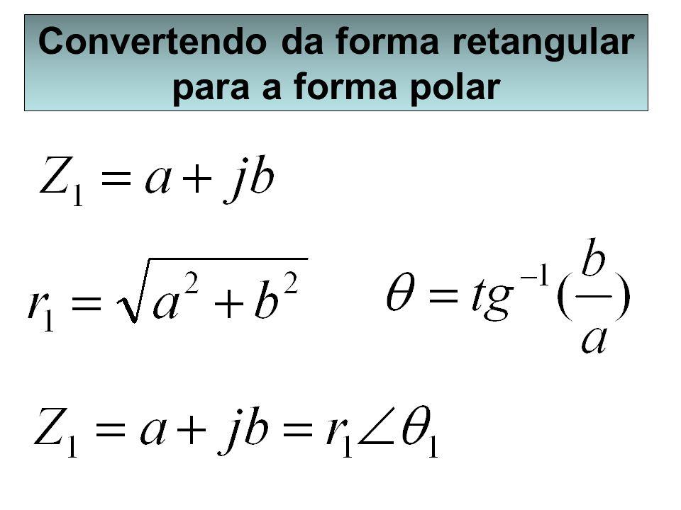 Convertendo da forma retangular para a forma polar