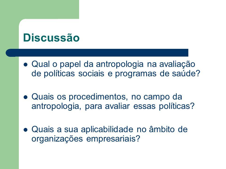 Discussão Qual o papel da antropologia na avaliação de políticas sociais e programas de saúde? Quais os procedimentos, no campo da antropologia, para
