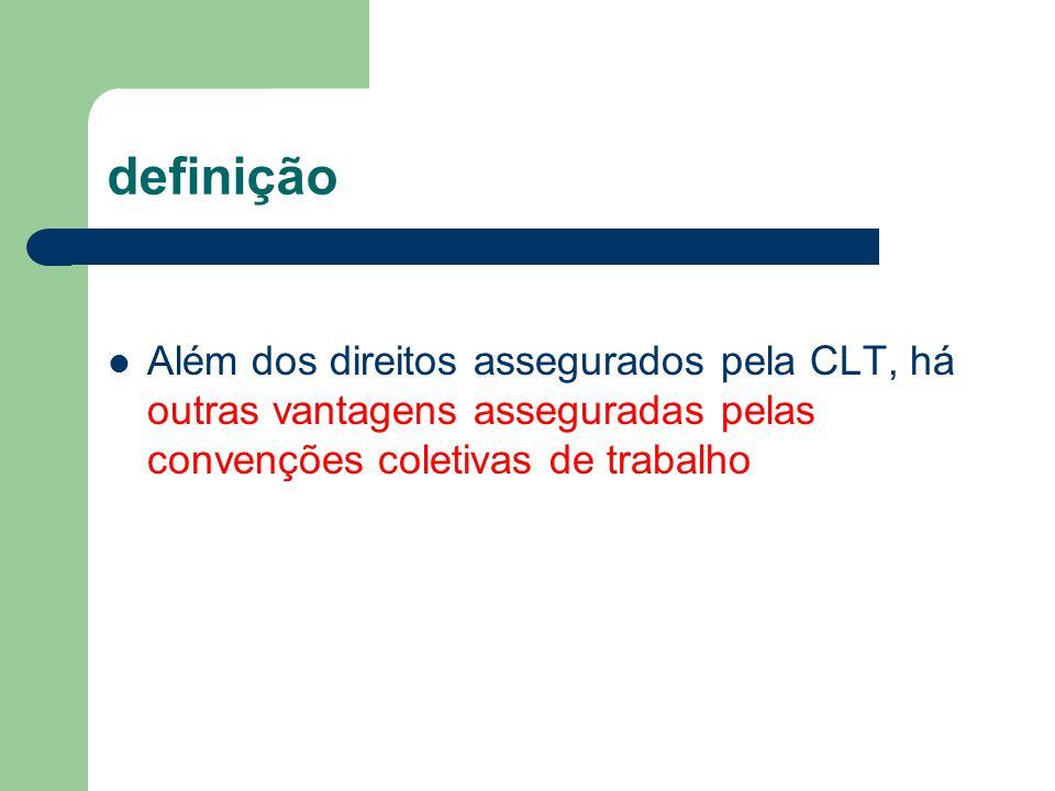definição Além dos direitos assegurados pela CLT, há outras vantagens asseguradas pelas convenções coletivas de trabalho