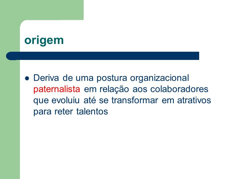 origem Deriva de uma postura organizacional paternalista em relação aos colaboradores que evoluiu até se transformar em atrativos para reter talentos