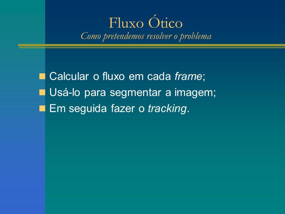 Fluxo Ótico Como pretendemos resolver o problema Calcular o fluxo em cada frame; Usá-lo para segmentar a imagem; Em seguida fazer o tracking.