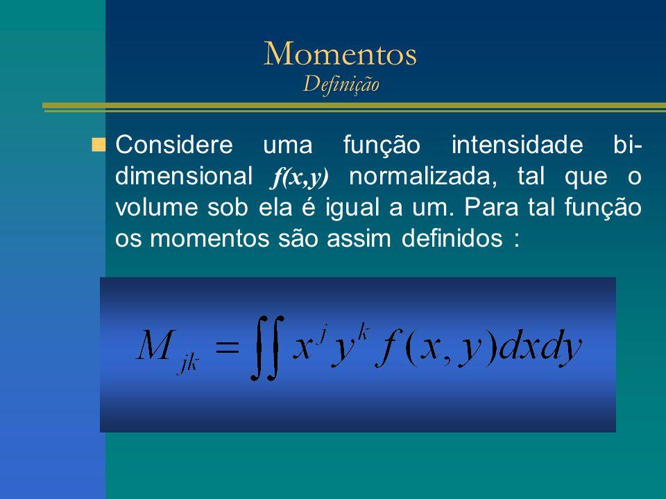 Momentos Definição Considere uma função intensidade bi- dimensional f(x,y) normalizada, tal que o volume sob ela é igual a um.