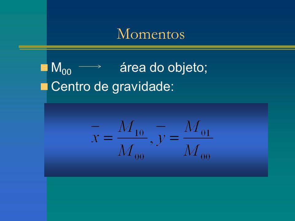 Momentos M 00 área do objeto; Centro de gravidade: