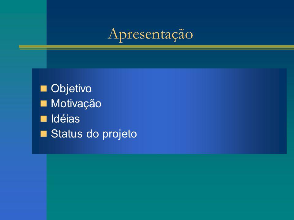 Apresentação Objetivo Motivação Idéias Status do projeto