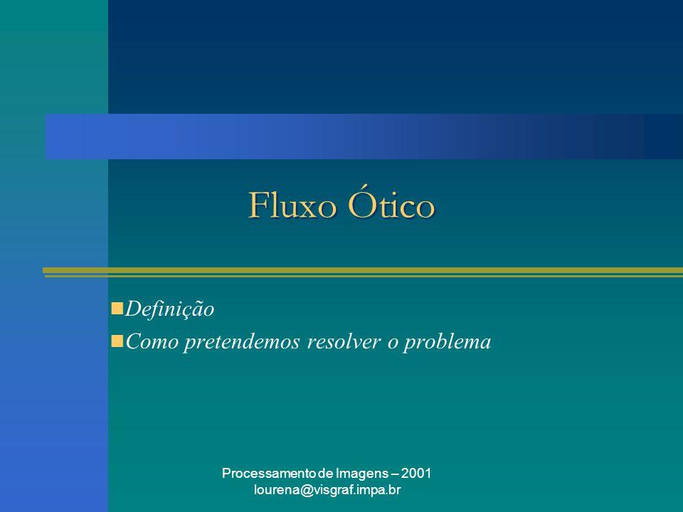 Processamento de Imagens – 2001 lourena@visgraf.impa.br Fluxo Ótico Definição Como pretendemos resolver o problema