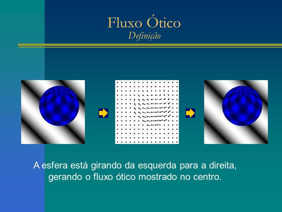 Fluxo Ótico Definição A esfera está girando da esquerda para a direita, gerando o fluxo ótico mostrado no centro.