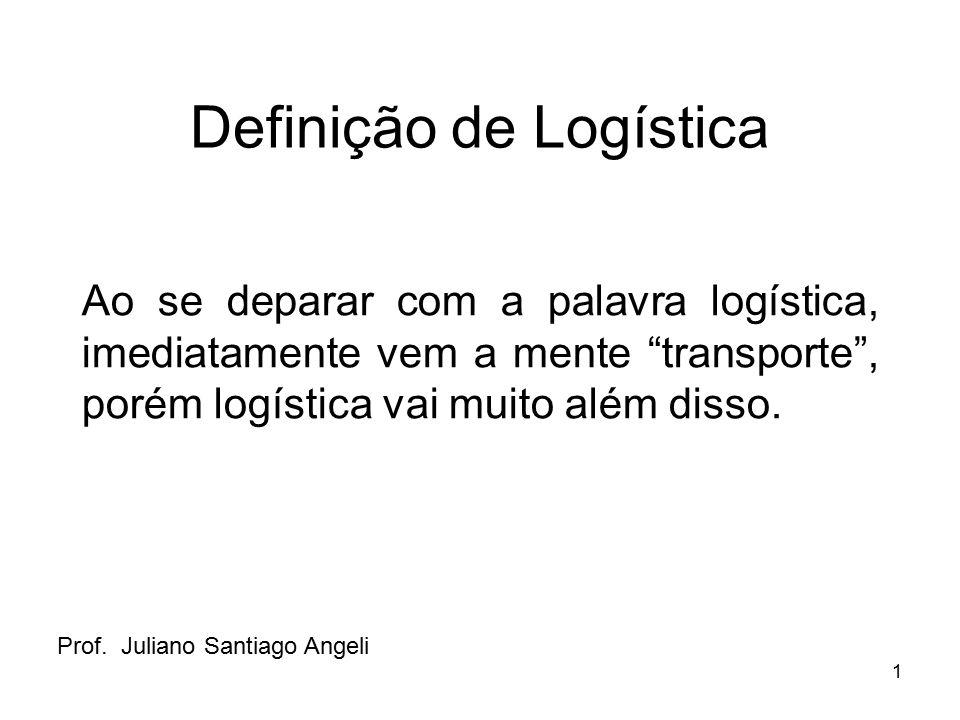 """1 Definição de Logística Ao se deparar com a palavra logística, imediatamente vem a mente """"transporte"""", porém logística vai muito além disso. Prof. Ju"""