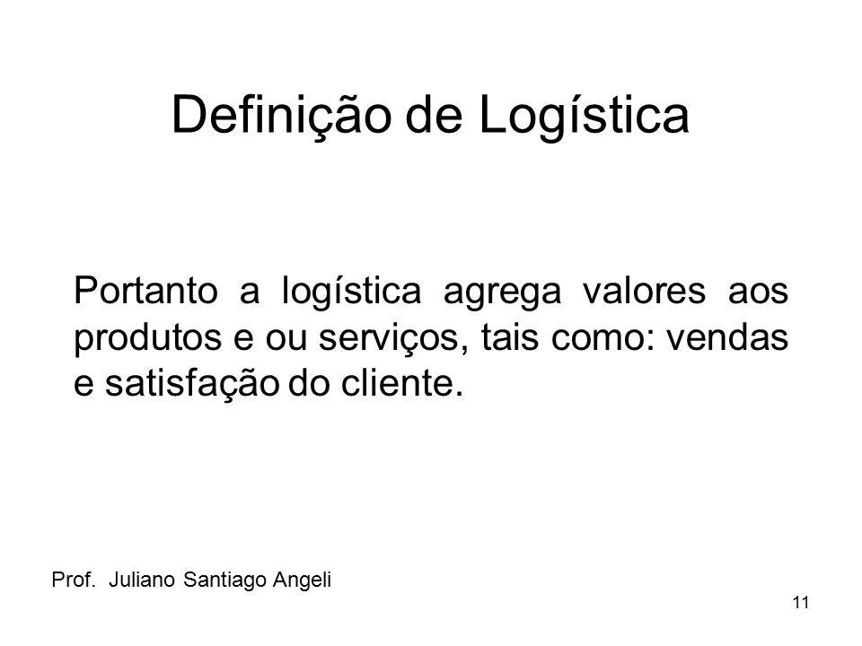 11 Definição de Logística Portanto a logística agrega valores aos produtos e ou serviços, tais como: vendas e satisfação do cliente. Prof. Juliano San
