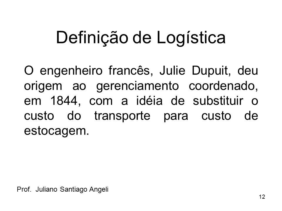 12 Definição de Logística O engenheiro francês, Julie Dupuit, deu origem ao gerenciamento coordenado, em 1844, com a idéia de substituir o custo do tr