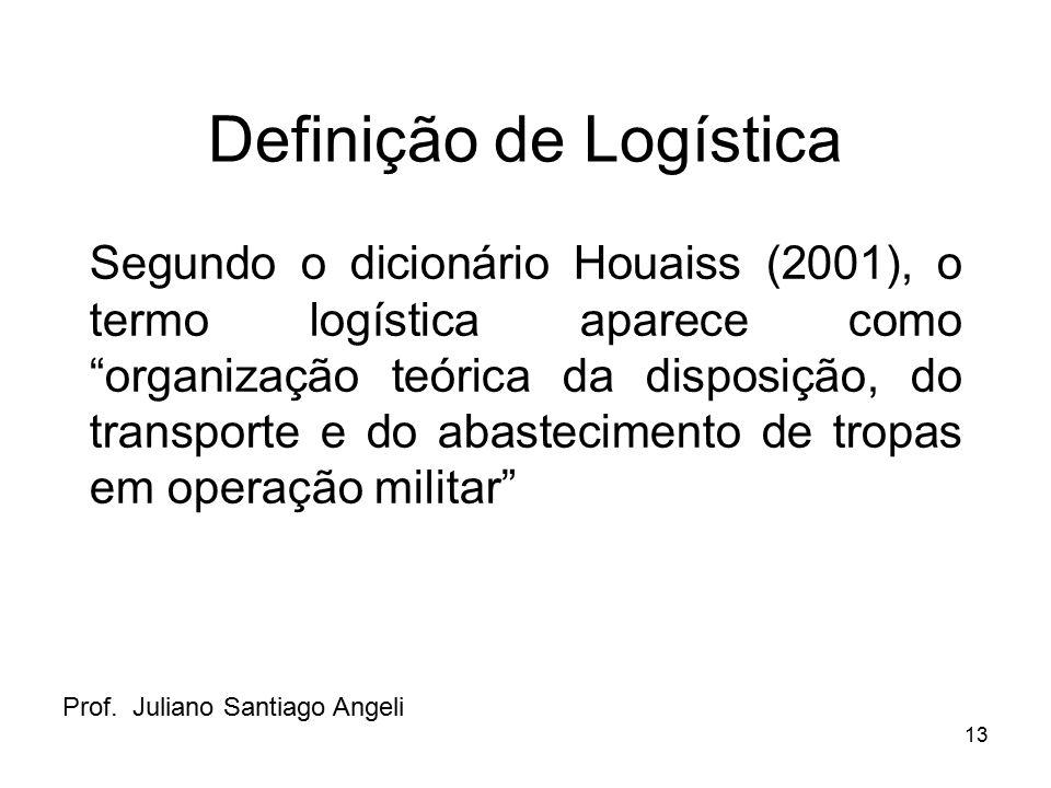 """13 Definição de Logística Segundo o dicionário Houaiss (2001), o termo logística aparece como """"organização teórica da disposição, do transporte e do a"""