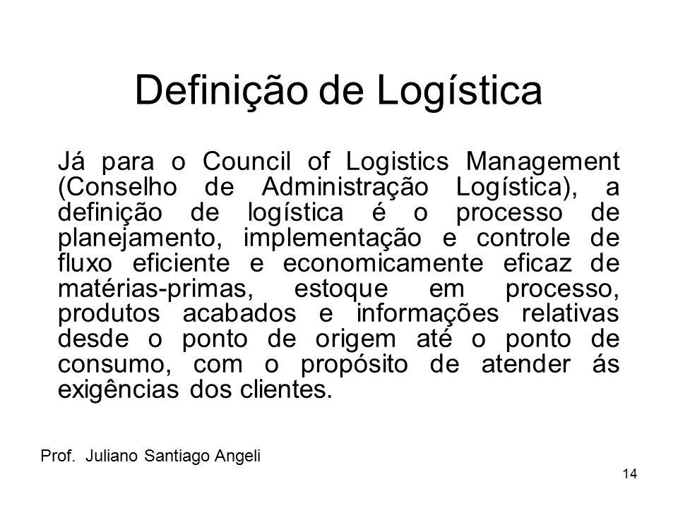 14 Definição de Logística Já para o Council of Logistics Management (Conselho de Administração Logística), a definição de logística é o processo de pl