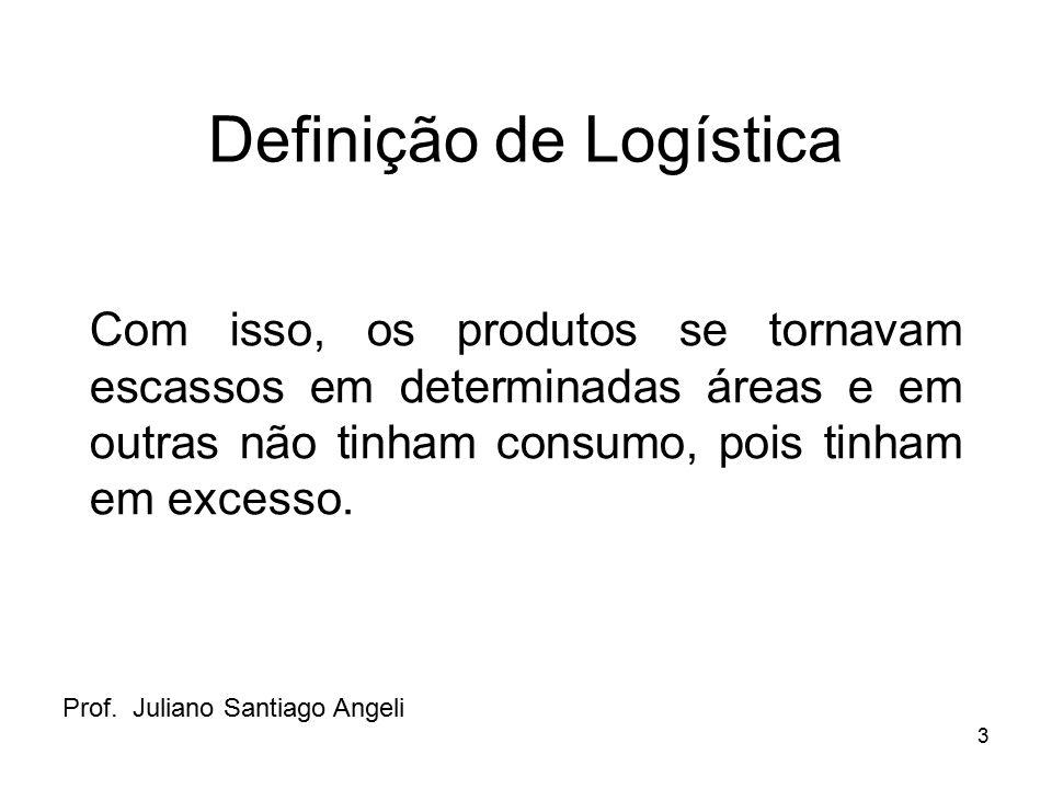 3 Definição de Logística Com isso, os produtos se tornavam escassos em determinadas áreas e em outras não tinham consumo, pois tinham em excesso. Prof