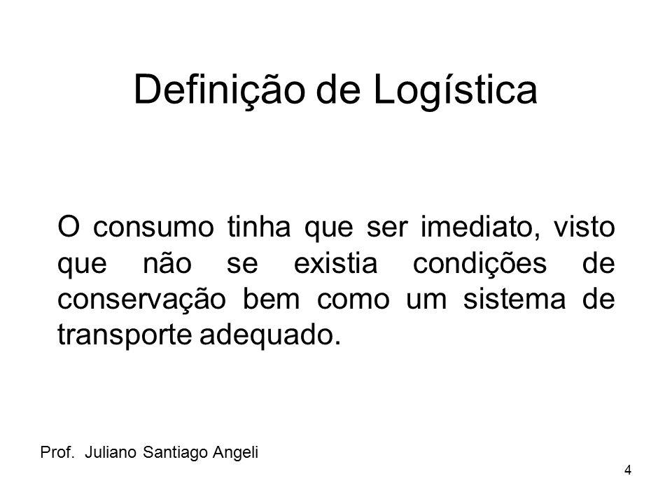 4 Definição de Logística O consumo tinha que ser imediato, visto que não se existia condições de conservação bem como um sistema de transporte adequad