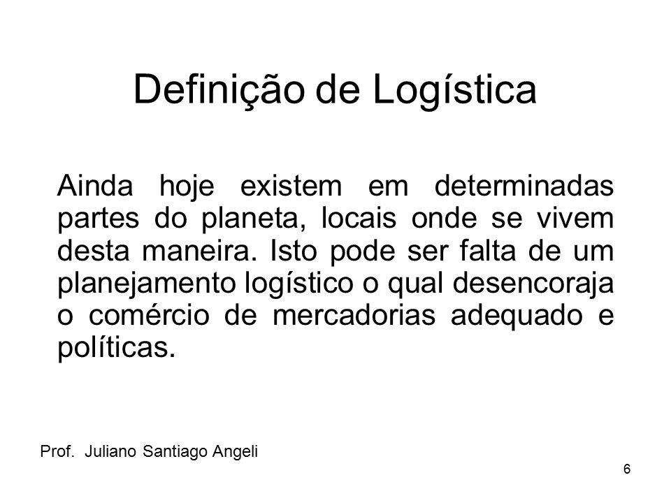 6 Definição de Logística Ainda hoje existem em determinadas partes do planeta, locais onde se vivem desta maneira. Isto pode ser falta de um planejame