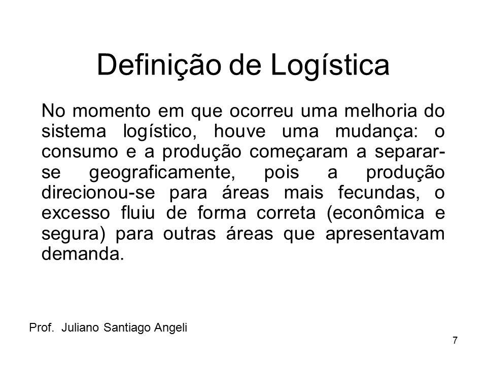 7 Definição de Logística No momento em que ocorreu uma melhoria do sistema logístico, houve uma mudança: o consumo e a produção começaram a separar- s